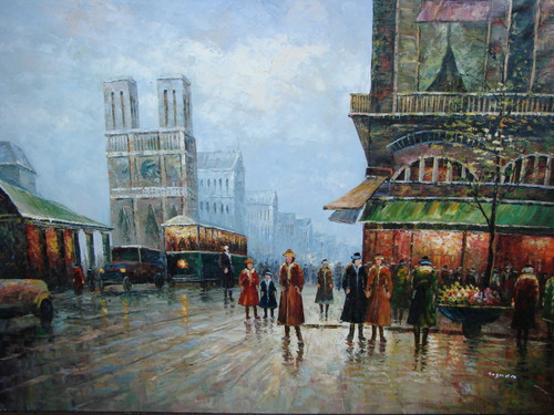 Large, beautiful painting, stretched but without frame, by Legendre.  Notre Dame is surround by bustling streets filled with trolley and cars, and individuals on the sidewalks of Paris.