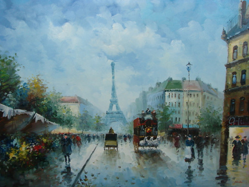 Large, beautiful painting, stretched but without frame, by Foster.  The Eiffel Tower sits at the end of a Paris street surround by people.