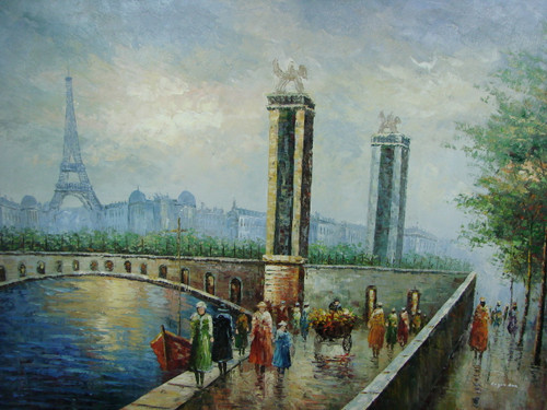 Large, beautiful painting, stretched but without frame, by Legendre.  The Eiffel Tower sit behind a Paris bridge filled with pedestrians.