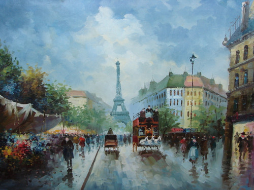 Large, beautiful painting, stretched but without frame, by Legendre.  The Eiffel Tower sits at the end of a Paris street surround by people.