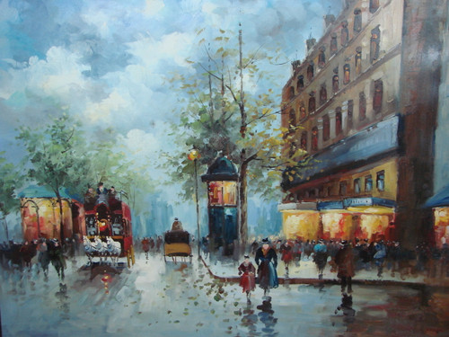 Large, beautiful painting, stretched but without frame, by Foster.  A red carriage, pulled by a team of white horses makes it way down a Paris street in the evening while individuals line the sidewalks.