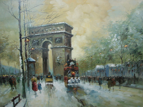 Large, beautiful painting, stretched but without frame, by Legendre.  The Arch of Triumph is surrounded by pedestrians walking in the streets of Paris.