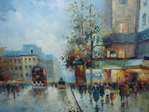 Large, beautiful painting, stretched but without frame, by Foster.  Pedestrians gather under a green awning while a team of horses pulls a carriage down a Paris street.