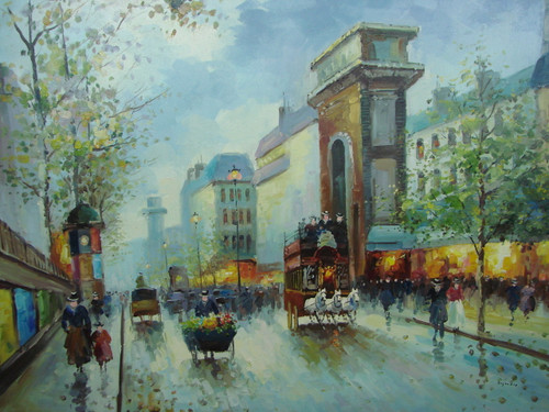 Large, beautiful painting, stretched but without frame, by Legendre.  Horse drawn carriages and carts full of colorful flowers fill a Paris street surrounded by pedestrians on the stone sidewalks.
