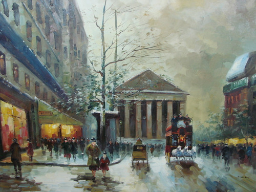 Large, beautiful painting, stretched but without frame, by Legendre.  A team of white horses pulls a large carriage down a Paris street filled with people, with the Madeleine in the background.