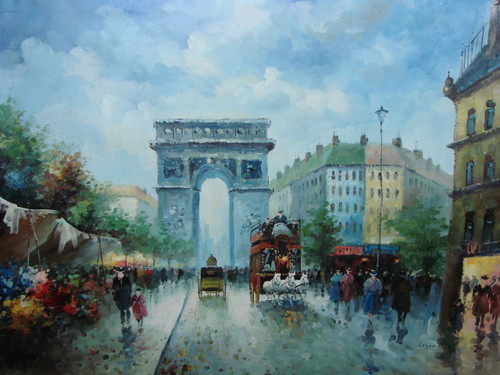 Large, beautiful painting, stretched but without frame, by Legendre.  The Arch of Triumph is surrounded by people and a team of three white horses pulling a red carriage.