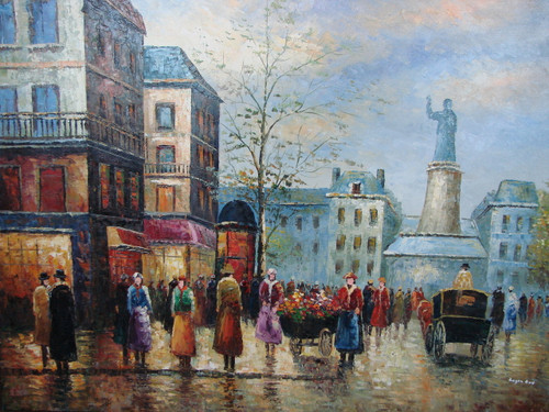 Large, beautiful painting, stretched but without frame, by Legendre.  People congregate on a sidewalk and in the street near a flower vendor, with a French monument in the background.