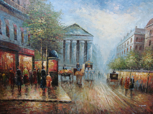 Large, beautiful painting, stretched but without frame, by Legendre.  Flower vendors and horse-drawn carriages fill the Paris street, while the tree lined sidewalks are filled with people.