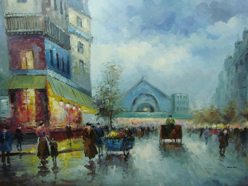 Large, beautiful painting, stretched but without frame, by Legendre.  As night falls, people fill the streets of Paris along with a vendor with a cart full of flowers.