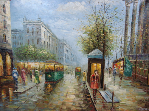 Large, beautiful painting, stretched but without frame, by Legendre.  Green streetcars transport people up and down Paris streets lined with trees and tall buildings.