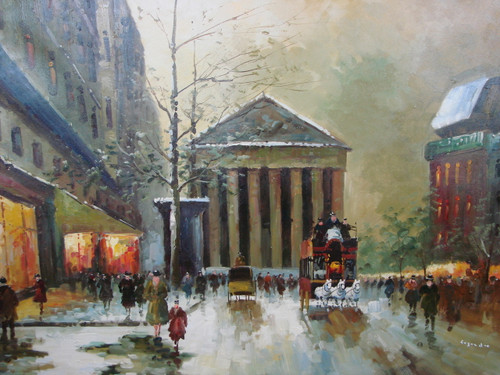 Large, beautiful painting, stretched but without frame, by Legendre.  A team of white horses pulls a large carriage down a Paris street filled with people, with a large building with columns in the background.