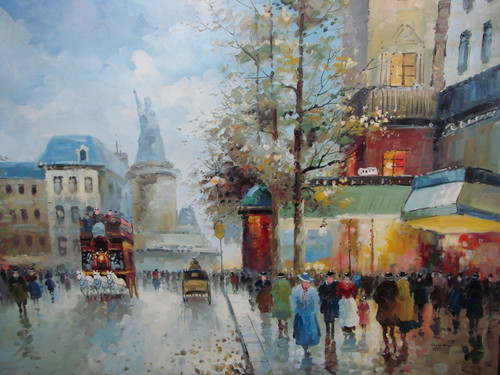 Large, beautiful painting, stretched but without frame, by Legendre.  People congregate on a sidewalk in Paris under green and blue awnings, with a French monument in the background.