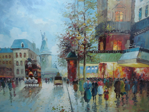 Large, beautiful painting, stretched but without frame, by Foster.  People fill the sidewalk under blue and green awnings, with a large French monument in the background.