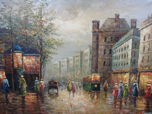 Large, beautiful painting, stretched but without frame, by Legendre.  Night falls on a Paris street with a green trolley and women walking down the street in blue, green, pink and red dresses.