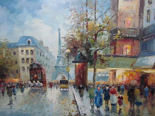 Large, beautiful painting, stretched but without frame, by Legendre.  The Eiffel Tower sits in the background of a busy Paris street filled with people and carriages.