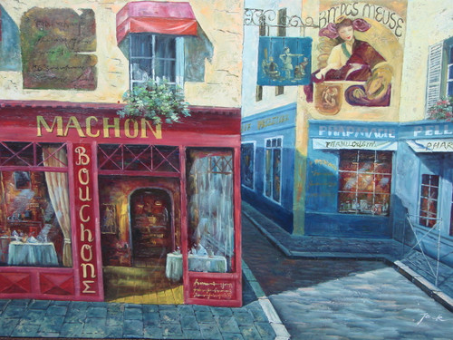 Beautiful medium sized painting, stretched but without frame, by Jack.  A Paris street lined with a stone sidewalk, a red cafe, and blue boutique.