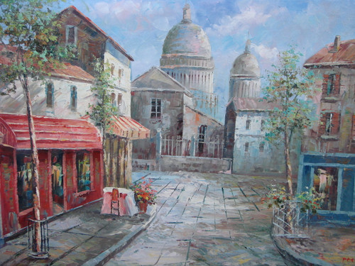 Beautiful painting, stretched but without frame, by Peter.  Colorful cafes fill the streets of Paris with the Montmartre in the background.