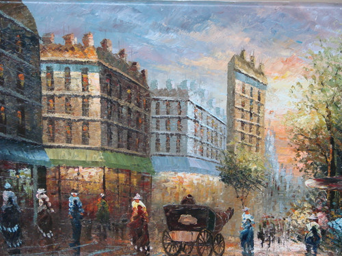Beautiful painting, stretched but without frame, by Grenon.  The sun set reflects over brick buildings and Paris streets filled with people and carriages in this small painting.