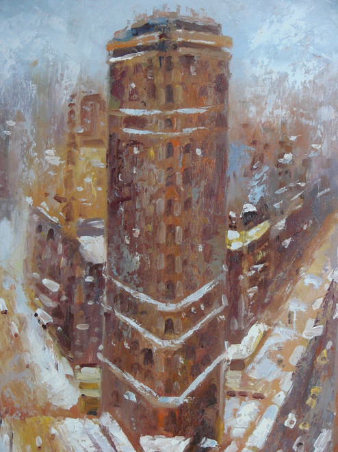 Beautiful medium sized painting, stretched but without frame, by B. J..  Snow falls in the city over towering brick buildings.