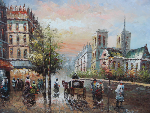 Beautiful medium sized painting, stretched but without frame, by Raspail.  Men and women walk down the streets of Paris lined with brick buildings Notre Dame, and green trees.