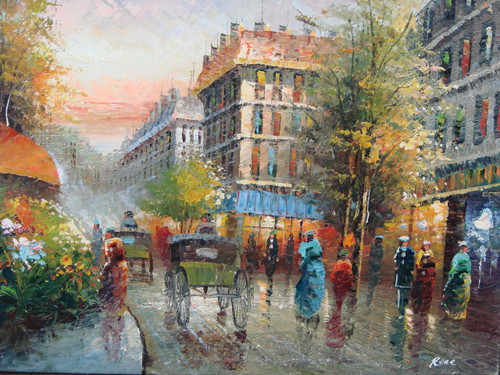 Beautiful medium sized painting, stretched but without frame, by Rene.  Men and women walk down the streets of Paris lined with brick buildings, flowering shrubs and green trees.