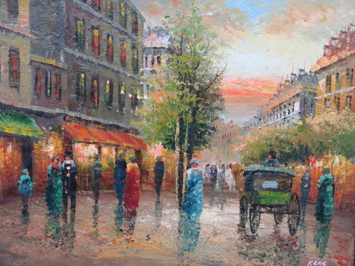 Beautiful medium sized painting, stretched but without frame, by Rene.  People dressed in red, blue, green and black walk down the streets of Paris lined with brick buildings.