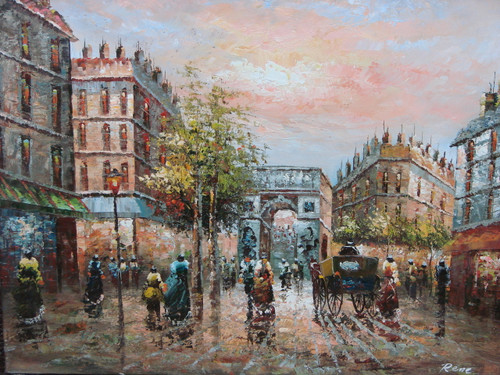 Beautiful medium sized painting, stretched but without frame, by Rene.  Women in colorful dresses walk in the Paris streets among carriages.