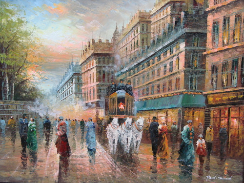 Beautiful painting, stretched but without frame, by Paul Seward.  A team of white horse pull a carriage through the streets of Paris filled with men dressed in black overcoats and women dressed in colorful coats.