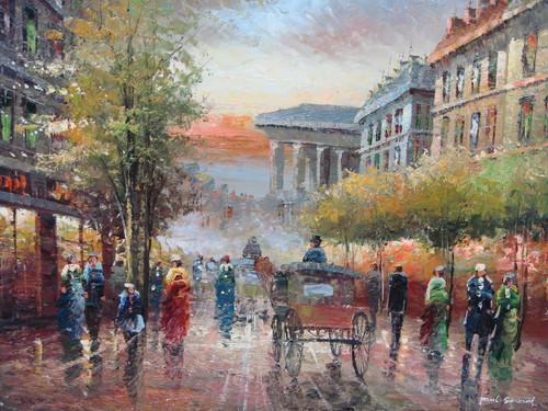 Beautiful medium sized painting, stretched but without frame, by Paul Seward.  Carriages and people fill the streets of Paris on an autumn evening.