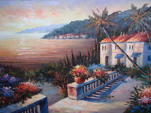 Beautiful large painting, stretched but without frame, by Scott.  Villas, surrounded by palm trees and flowering hedges, line the shoreline of a sea reflecting the setting sun.