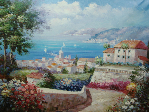 Beautiful large painting, stretched but without frame, by Damini.  A stone path lined with pink, blue and white flowers winds through villas leading to the blue sea.