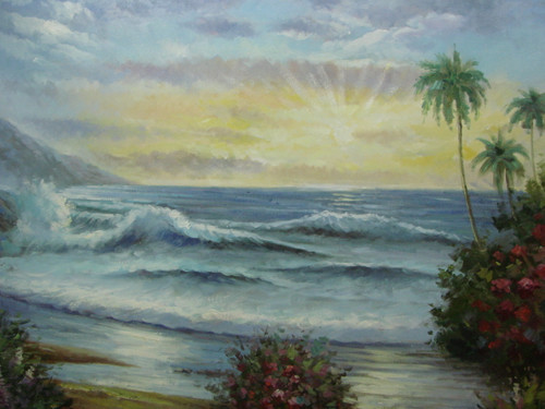 Beautiful large painting, stretched but without frame, by Rene.  Large waves crash onto the beach surrounded by palm trees and red and pink flowers.