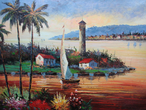 Beautiful large painting, stretched but without frame, by Scott.  A sailboats comes in to dock as the setting sun reflects orange and pink in the water and on the palm trees.