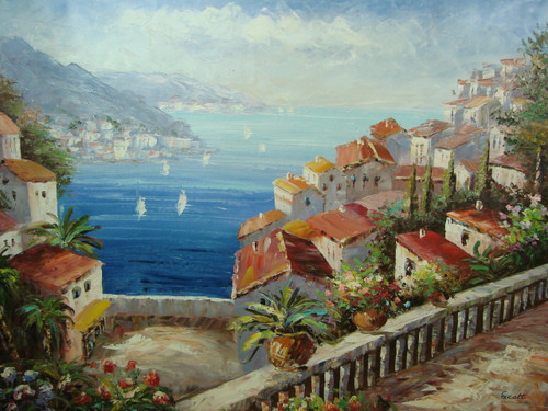 Beautiful large painting, stretched but without frame, by Scott  Hillsides filled with white villas and green trees surround the blue sea.