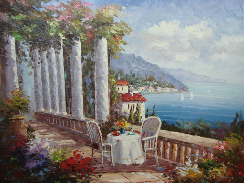 Beautiful large painting, stretched but without frame, by Damini.  White columns covered in ivy and flowers line a railing near a small table set with two chairs overlooking the blue sea.