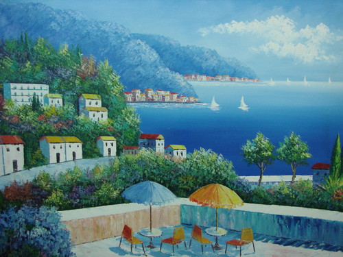 Beautiful large painting, stretched but without frame, by Damini.  Tables with blue and yellow umbrellas are setup on a veranda overlooking deep blue water filled with sailboats.