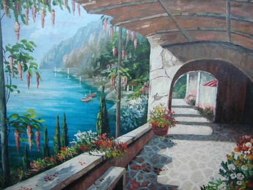 Beautiful large painting, stretched but without frame, by Damini.  Arches cover a cobblestone path that curves around the blue sea surrounded by green trees and white and pink flowers.