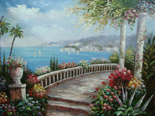 Beautiful large painting, stretched but without frame, by Damini.  A walkway with white columns and railing curves around the shore of a light blue sea, surrounded by red, pink, yellow and white flowers.