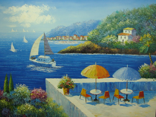 Beautiful large painting, stretched but without frame, by Damini.  A large sailboat sails through dark blue water past white villas and a patio with blue and yellow umbrellas.