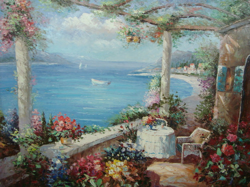 Beautiful large painting, stretched but without frame, by Damini.  A small table sits on a portico with arches covered in flowering ivy, and pink, yellow and blue flowers, overlooking light blue water.