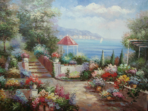 Beautiful large painting, stretched but without frame, by Damini.  A flower garden of red, blue, yellow and pink flowers grows near the shoreline of a light blue sea.