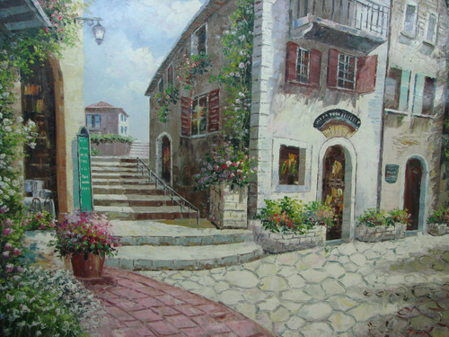 Beautiful large painting, stretched but without frame, by Peter.  A cobblestone street runs through a Mediterranean village with buildings covered in ivy and light blue and pink flowers.