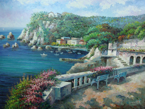 Beautiful large painting, stretched but without frame, by Scott.  Cliffs covered in green trees and villas surround a cove of sailboats in dark blue water.