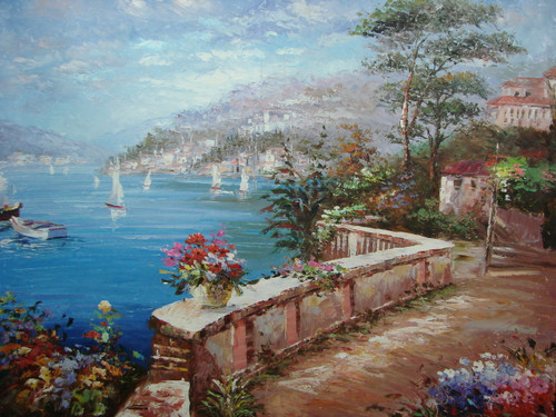 Beautiful large painting, stretched but without frame, by Damini.  A dirt path curves around the blue waters of the sea near villas surrounded by green hedges and blue and pink flowers.