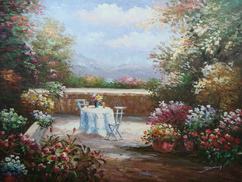 Beautiful large painting, stretched but without frame, by Damini.  A table is set up in a small opening surrounded by pink, blue, yellow and red flowers.