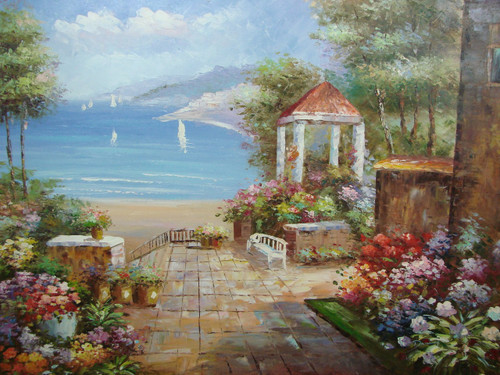 Beautiful large painting, stretched but without frame, by Damini.  A sandy beach separates the light blue water of the sea from a colorful flower garden with a gazebo.