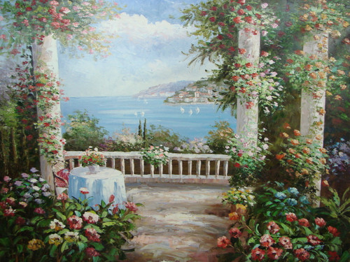 Beautiful large painting, stretched but without frame, by Damini.  White columns covered in pink and orange flowers encircle a balcony with a small table set up overlooking the light blue sea below.