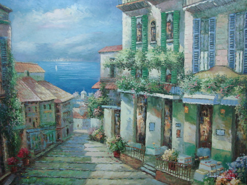 Beautiful large painting, stretched but without frame, unsigned.  An old street in a Mediterranean city leads to the blue sea, and is surrounded by tall buildings with green ivy and flowers.