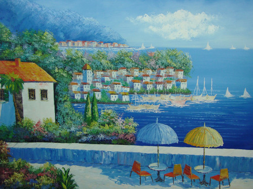 Beautiful large painting, stretched but without frame, by Damini.  Tables with blue and yellow umbrellas sit on a large veranda that over looks a group of white villas and sailboats in deep blue water.