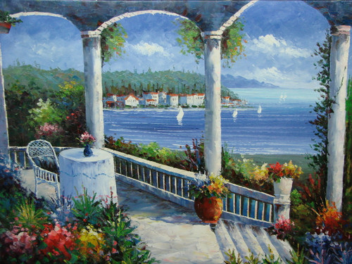 Beautiful, large painting, stretched but without frame, by Scott.  A small table for one sit on the edge of a portico surrounded by white columns and flowering shrubs overlooks sailboats in the light blue sea.